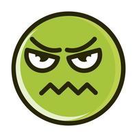Franzindo a testa, emoticon engraçado, linha de expressão de rosto e ícone de preenchimento vetor