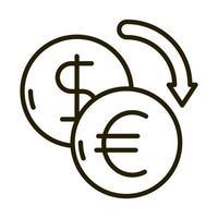 ícone de estilo de linha de investimento financeiro de negócios de câmbio dólar e euro vetor