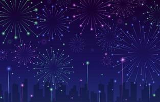fundo de fogos de artifício azul escuro vetor