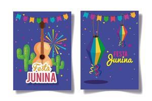 conjunto de pôster festa junina com decoração vetor