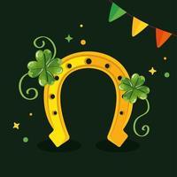Dia de São Patrício com ferradura e decoração vetor