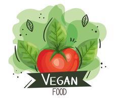 pôster de comida vegana com tomate e folhas vetor