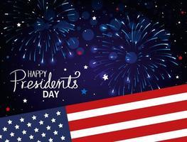 feliz dia dos presidentes com a bandeira dos EUA e fogos de artifício vetor