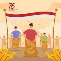 comemorando o dia da independência da Indonésia com jogo tradicional vetor