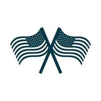 feliz dia da independência cruzou as bandeiras americanas com o ícone de estilo silhueta desenho de pólo vetor
