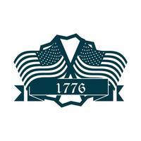 feliz dia da independência bandeira americana bandeiras cruzadas distintivo fita silhueta ícone de estilo vetor
