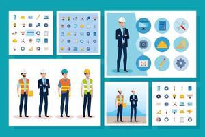 homens engenheiros com conjunto de ícones funcionais vetor