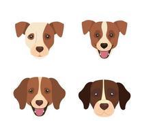 grupo de cabeças de cães, ícones de animais vetor