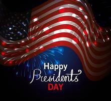feliz dia do presidente com a bandeira dos eua vetor