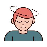 Prevenção de coronavírus covid 19 homem doente com dor de cabeça espalhou linha de surto pandêmico e ícone de estilo vetor