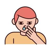 covid 19 prevenção de coronavírus menino doente espirros e tosse espalhar linha pandêmica de surto e ícone de estilo de preenchimento vetor