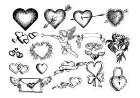 Vetores de corações gravados