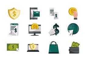 pagamentos online dinheiro finanças comércio tecnologia ícones definir sombra ícone plana vetor