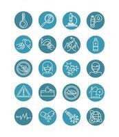 vírus covid 19 ícones de doença pneumonia respiratória pandêmica definir ícone de estilo de linha de bloqueio vetor