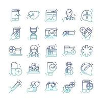conjunto de ícones de consulta de suporte médico de saúde on-line vetor