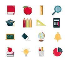 educação suprimentos estudo escola papelaria ícones conjunto ícone isolado vetor