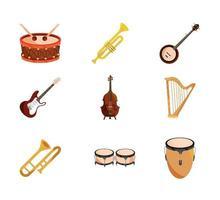 instrumentos musicais string vento percussão ícone conjunto ícone isolado vetor