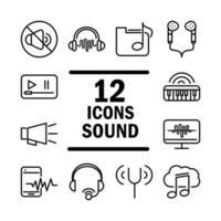 som áudio volume música linha estilo conjunto de ícones vetor
