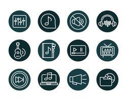 conjunto de ícones de estilo de bloco de música volume de som vetor