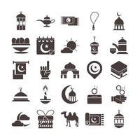 ícone de celebração islâmica árabe do ramadã definir ícone de estilo de silhueta vetor