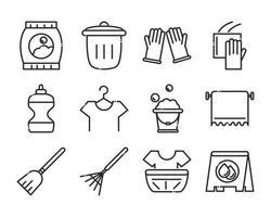 ícone de estilo de linha de higiene doméstica de limpeza vetor