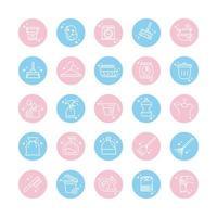 limpeza de ícones de higiene doméstica definir ícone de estilo de cor de bloco de higiene doméstica vetor