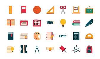 conjunto de suprimentos, papelaria, educação, escola, ícone, design vetor