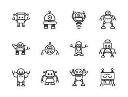 ícones de máquinas artificiais de personagens de tecnologia de robôs definidos linear vetor