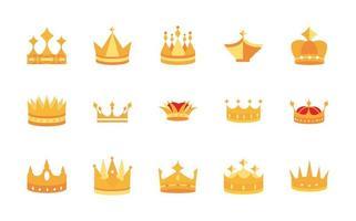 ouro coroas joia autoridade coroação monarquia luxo conjunto de ícones vetor