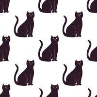 ilustração em vetor gato preto bonito dos desenhos animados