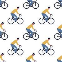 Padrão sem emenda com motorista de homem em bicicletas vetor