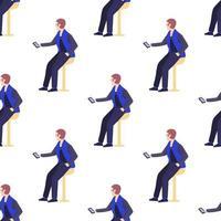 padrão sem emenda com trabalhadores de escritório, homens segurando smartphones vetor