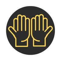 ícone de linha e bloco tradicional de gesto de mãos abertas vetor