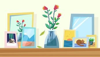 flores em um vaso interior aconchegante vetor