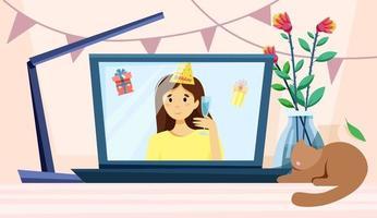 tela de parabéns da festa online vetor