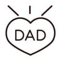 feliz dia dos pais inscrição do pai coração amor celebração ícone de estilo de linha vetor