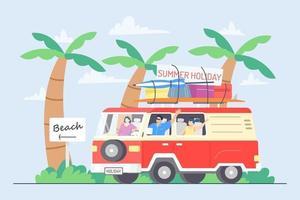 ilustração de férias de verão de carro na praia vetor