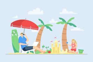 homem trabalhando na praia durante as férias com a família vetor