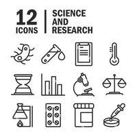 ícone de estilo de linha de coleção de ícones de estudo de laboratório de ciência e pesquisa vetor