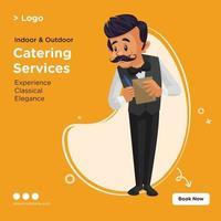 projeto de banner de modelo de estilo de desenho animado de serviços de catering vetor