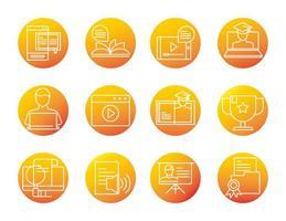 aula de desenvolvimento e educação on-line de elearning definir ícone de estilo gradiente vetor