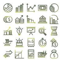 economia e finanças conjunto de ícones de estilo gradiente desenho vetorial vetor