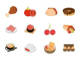 menu de comida restaurante lanche ingrediente conjunto de ícones de estilo simples vetor