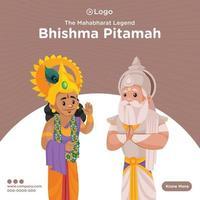 desenho de banner da lenda mahabharat bhishma pitamah vetor