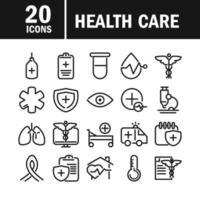 ícone de assistência de equipamentos médicos e de saúde definir estilo de linha vetor