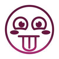 língua de fora emoticon sorridente engraçado expressão facial ícone de estilo gradiente vetor