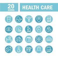 conjunto de ícones de assistência para equipamentos médicos e de saúde vetor