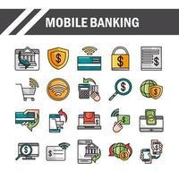 banco móvel compras ou ícones de comércio eletrônico on-line do mercado de pagamento definir linha e preencher linha e ícone de preenchimento vetor