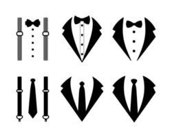 terno de casamento de ícone de smoking com gravata borboleta e gravata isolada em fundo branco vetor