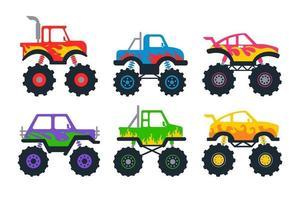 conjunto de caminhões monstro de vetor com ideias de design de carros de desenho animado de rodas grandes para meninos